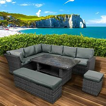 Polyrattan Sofa Essgruppe HOLIDAYS schwarz/grau
