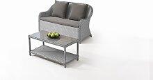 Polyrattan Sofa Kasu mit Tisch - grau satiniert -