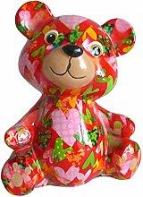 Pomme Pidou Spardose Bär rot mit Herzen