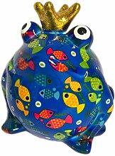 Pomme Pidou Spardose Frosch Froschkönig blau mit