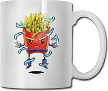 Pommes Fast Food Neuheit Keramik Tasse weiße