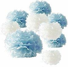 Pompoms 9er Set Hochzeitsdeko Taufe Babyshower Geburtstag Dekoration (blau/weiß)