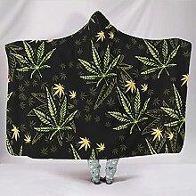Poncho-Decke Cannabis Blatt Pflanze Ultra weich