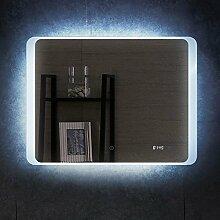 PonteSino Badspiegel mit LED Beleuchtung Uhr