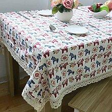Pony Cotton Linen Tischdecke Kindergarten