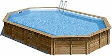 Pool aus Holz oval System Omega Avila mit Sandfilter-16m³/h. Größe cm 894x 544x H146.