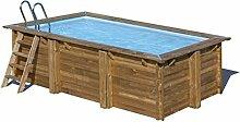 Pool aus Holz rechteckig System Omega Marbella mit Sandfilter-6m³/h. Abmessungen cm 379x 229x H119.