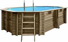 Pool ELLIPSE Oval fuoriterra in Holz Grenade mit Sandfilter-4MC/H. Abmessungen cm 403x 303x H119.
