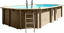 Pool ELLIPSE Oval fuoriterra in Holz Safran mit Sandfilter-8MC/H. Abmessungen cm 590x 365x H133.