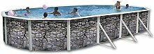 Pool Oval Außerhalb Boden 730x 366x 120doppelwandig Hartschale lackiert Stein grau oval Dir