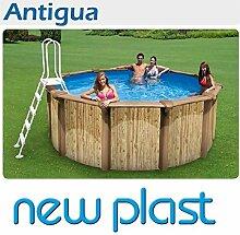 Pool rund Außerhalb Boden mit Struktur aus Stahl Effekt Holz mod. Antigua 500(Außendurchmesser 470cm) Höhe 132cm Cod.5002K New Plas