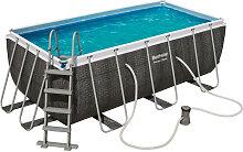 Pool Set Power Steel Deluxe Blau, Weiß, Dunkelgrau