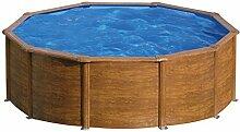 Pool Stahlwand Holzoptik