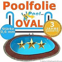 Poolfolie oval 7,30 x 3,60 x 0,6 mm 1,20 1,25 1,35 1,50 m Ersatzfolie Innenfolie Innenhülle folie Ovalpool Schwimmbadfolie
