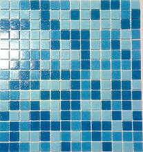 Poolmosaik Mosaik Fliese Glas blau mix