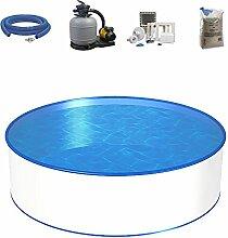 Poolset, Größe & Tiefe wählbar, Aufstellbecken mit 0,4mm Stahlwand, 0,4mm Poolfolie, Sandfilteranlage SF und Filtersand, Skimmer- und Schlauch-Set-400 x 120cm