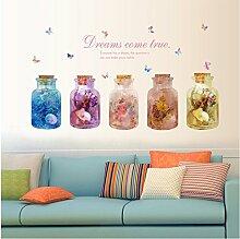 Poowef 3D-Dream Schlafzimmer Wohnzimmer Glas Vase Die Kombination Von Dekorativen Wand Aufkleber Entfernen