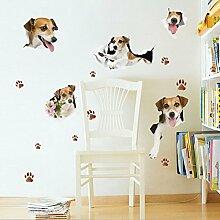 Poowef 3D-Simulation Reizenden Hund Schlafzimmer Wohnzimmer Schrank Kühlschrank Zufällig Pet Store Animal Hospital Entfernen Können, Aufkleber, Reizenden Hund, Große