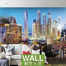 Poowef 3D-Tapete mit Nachtsicht von Dubai City,