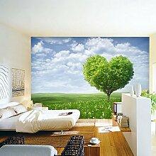Poowef 3D Wallpaper Einfache Liebe Big Tree Wohnzimmer TV Hintergrund Tapete Tapete Wandmalereien Schlafzimmer Ideen der Wände und frische Landschaf
