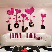 Poowef Der Spiegel Wandspiegel Stereo_3D Acryl Aufkleber Kinder Cartoon Doppelbett Schlafzimmer Wand Dekoration Liebe Rot, 100 * 62 Cm
