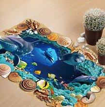 Poowef Kreative 3D-Meeresgrund Höhle Welt Wohnzimmer Kindergarten Umwelt Dekoration Wand Aufkleber Entfernen, 60 * 90 Cm.