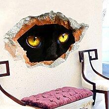 Poowef Schlafzimmer Sofa Hintergrund Wall Wall Sticker Aufkleber Aufkleber Entfernen Können Wand Loch Horror 3D-Cat Eye, 3D-Cat Eye, Groß