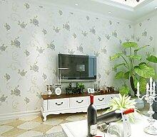 Poowef Wallpaper American Pastoral Non-Woven Stoff, Tapete, Tapeten, 3D, Schlafzimmer, Wohnzimmer, Sitzecke, Sofa, Tapete, Tapeten, 0,53 X 10 M, Ein