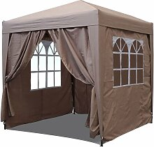 Pop-Up-Pavillon 2,5 x 2,5 m Sand mit 4 Easy-Klett