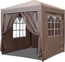 Pop-Up-Pavillon 2 x 2 m Beige mit 4 Easy-Klett