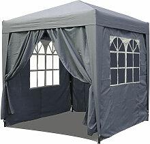 Pop-Up-Pavillon 2 x 2 m Smoky Grau mit 4