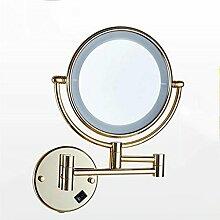 popa Bad-Beleuchtung Spiegel-vordere Lichter, faltende Lichter mit LED-Verfassungs-Spiegel, Badezimmer-teleskopischer Schönheits-Spiegel, Badezimmer-Wand Doppelseitiger Vergrößerungs-Badezimmer-Spiegel Spiegelfrontlicht ( Farbe : Gold )