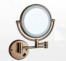 popa Bad-Beleuchtung Spiegel-vordere Lichter, faltende Lichter mit LED-Verfassungs-Spiegel, Badezimmer-teleskopischer Schönheits-Spiegel, Badezimmer-Wand Doppelseitiger Vergrößerungs-Badezimmer-Spiegel Spiegelfrontlicht ( Farbe : Metallic )