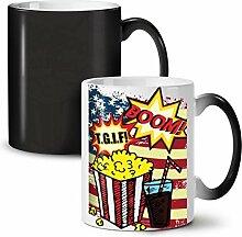 Popcorn und Koks Schwarz Farbwechsel Tee Kaffee Keramisch Becher 11 oz   Wellcoda