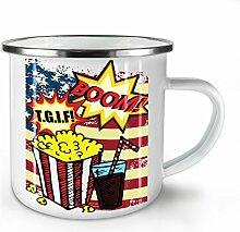 Popcorn und Koks Weiß Emaille-Becher 10 oz   Wellcoda