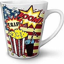 Popcorn und Koks Weiß Keramisch Latte Becher 12 oz   Wellcoda