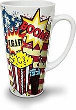 Popcorn und Koks Weiß Keramisch Latte Becher 17 oz   Wellcoda