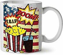 Popcorn und Koks Weiß Tee Kaffee Keramisch Becher 11 oz   Wellcoda