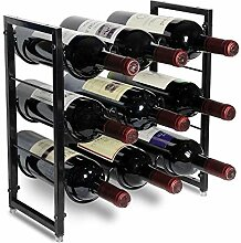 POPKU Weinregal für 9 Flaschen – 3 Etagen