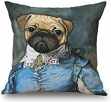 POPRY Amerikanische Hundekissen, handgemalte personifizierte Karikatur Tierkissen, Baumwolle und Leinen Sofa, Büro Kissen, Kissen, 55x55cm, die