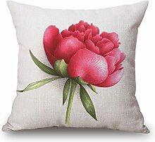 POPRY Mode Blume Kissen, Baumwolle, Hanf, Kissen,