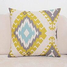 POPRY Nordic Moderne amerikanische Baumwolle Kissen, abstrakte geometrische Gitter Kissen, Auto Sofa, Taille Kissen, Kissen Kissen, 55x55 cm, CK0505
