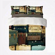 Popun Bettbezug-Set Vintage Bequemes 3-Bett-Set,