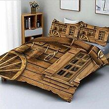 Popun Bettbezug-Set, Wagenrad Neben einem