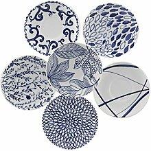 porcellana 6Rand Teller, Porzellan, Blau, 0,1x