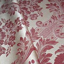 Porchester 'Bordeaux Large Muster': Rot Damast Polstermöbel Sofa Kissen Flammschutzmittel Stoff Material aus loome Stoffe, Porchester 'Bordeaux Large Pattern' : Red, 10 x 14 cm sample