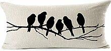 Pormow Baum Vogel Baumwolle und Leinen Sofa/Hotel/Auto/Büro Dekorative Kissenbezüge Hochzeitsgeschenk,30x50cm