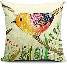Pormow Blumen und Vögel Baumwolle und Leinen Sofa/Hotel/Auto/Büro Dekorative Kissenbezüge Hochzeitsgeschenk,45x45cm