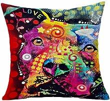 Pormow Bunte Modehund Baumwolle und Leinen Sofa/Hotel/Auto/Büro Dekorative Kissenbezüge Hochzeitsgeschenk,45x45cm