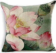 Pormow Chinesische Lotus Baumwolle und Leinen Sofa/Hotel/Auto/Büro Dekorative Kissenbezüge Hochzeitsgeschenk,45x45cm